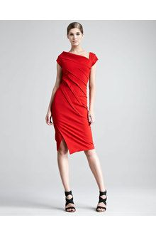 Donna Karan New York Structured Matte Jersey Cap-Sleeve Dress - Lyst