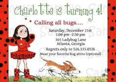 Ladybug Girl Custom Invitation: Printable, Birthday, Ladybugs, Personalized