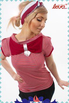 """Schleifenshirt """"Carlotta"""", Rot, Streifen Rot von mydearlove® - shop auf DaWanda.com"""
