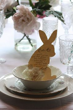 Easter - Print menu on bunny shape and use a white carnation for the tail.  Super cute!
