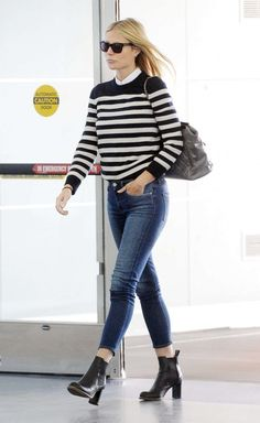Gwyneth Paltrow Style – Arriving at JFK airport in New York City #celebrity #Saintlaurent #winter #fall #jeans #stripes