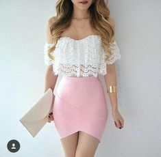 new ideas for clothes summer crop tops casual Pencil Skirt Outfits, Crop Top Outfits, Dress Outfits, Cute Outfits, Fashion Outfits, Bandage Skirt Outfit, Pencil Skirts, Fashion Clothes, Girl Fashion