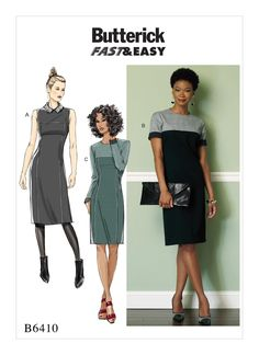 B6410 Fitted dress with princess seams, front and back yokes, exposed back zipper. Crepes, tweeds, Gaberdine, Ponte  Knits.
