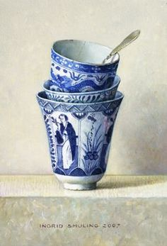 by Ingrid Smuling (artist) Blue And White China, Blue China, Love Blue, Blue Pottery, Happy Paintings, Fun Cup, Teapots And Cups, Tea Art, Tea Bowls