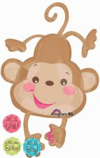 Fisher Price Monkey Shape  Comes w/ 3 Attachable Stickers:  It's A Boy, It's A Girl & Welcome Baby  40in. Mylar Balloon, available at BalloonWarehouse.com