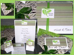 Moderne Hochzeitseinladung und Hochzeitskarten in grün & braun