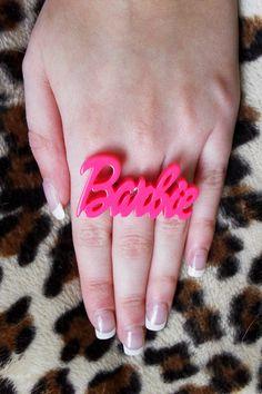 Barbie Girl Big Hot Pink Barbie Adjustable Ring. $5.00, via Etsy.