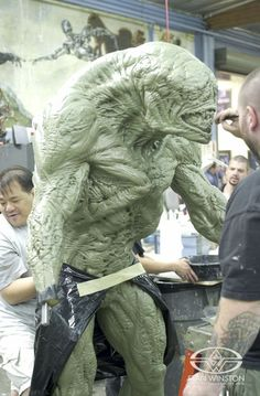 """Monster Makers Gary Yee, Jeff Deist, and John Cherevka the Brian Steele (""""CreatureBoy"""") portrayed Baron sculpture from DOOM for molding."""