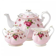 Royal Albert New Country Roses Pink 3-Piece Set ($185) ❤ liked on Polyvore featuring home, kitchen & dining, serveware, fillers, decor, kitchen, backgrounds, bone china, rose tea set and royal albert