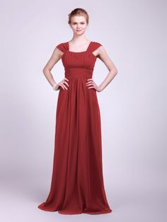 Pleated Chiffon Bridesmaid Dress - Oh, hello, it's you again.  (The red's not quite right, but still pretty.)