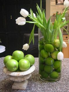 kitchen limes and tulips--great way to brighten up a room!