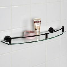 Bathroom Glass Shelves Brushed Nickel. See More. Bristow Curved Tempered Glass  Shelf