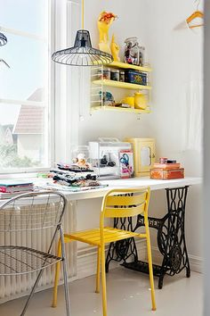 work table with sewing machine legs
