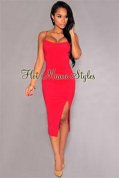 Red Spaghetti Straps Front Slit Midi Dress