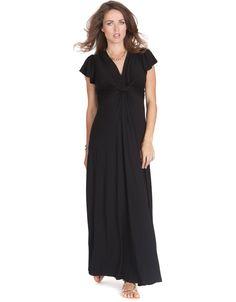 Black Knot Front Maternity Maxi Dress | Seraphine Maternity
