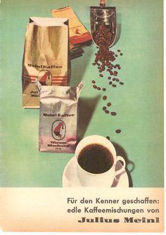 Das österreichische Unternehmen Julius Meinl kann auf 150 Jahre Firmengeschichte zurückblicken (1862 gegründet). Das Logo (der Meinl-Mohr) ziert auch heute noch jede Packung von Meinl Kaffee, wie auch in diesem alten Werbemotiv von 1962.  #Meinl #Kaffee