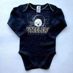 Steelers Baby Clothes One Piece Long Sleeves Team Apparel Black 6 12 M Steelers Baby Clothes, Mens Beanie Hats, Pittsburgh Steelers Football, Nfl Team Apparel, Babies Clothes, Sports Logo, Workout Leggings, Womens Scarves, Fit Women