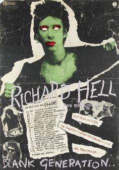 """poster for Richard Hell and the Voidoids' 1977 tour with The Clash. Richard was not a fan of this poster, or its all too predictable blank-eyed """"Frankenstein"""" treatment of him as an avatar of punk rock. Rock Posters, Band Posters, Concert Posters, Music Posters, Collage Poster, Kunst Poster, Les Aliens, Arte Horror, Norman Rockwell"""