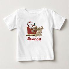 Kids Personalized Christmas Santa Sleigh Baby T-Shirt