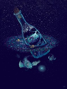 James R. Eads // fish, bottle, magic, drawing