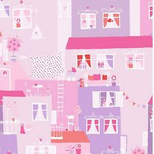 YH17950 - Young at Home Pink & Purple Cartoon Houses Wallpaper