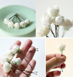 Fácil de Fazer.... Bridal hair clips, Wedding flower pins, Ivory rose bobby pins - PEMBERLEY - set of five. $20.00, via Etsy.