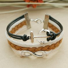 Infinity bracelet - tan tune anchor bracelet with infinity symble for men, gift for boyfriend via Etsy
