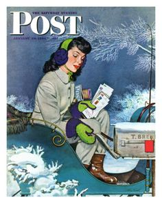 Mail Delivery by Sleigh, Saturday Evening Post Cover, January 29, 1944 Giclee Print by Alex Ross
