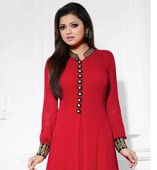 MADHUBALA DRASHTI DHAMI DESIGNER RAVISHING RED SALWAR KAMEEZ Look  absolute gorgeous by getting dressed up this ravishing red madhubala drashti dhami party wear stylish salwar kameez. Lovely Chinese collar, embroidery work with button pattern neckline gives it a stunning look. The Bottom of the kameez and sleeves are also beautified with lovely embroidery. This exciting Madhubala (Drashti Dhami) dress comes with matching salwar, dupatta and inner fabric.