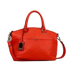 """Satchels. A top zip leather handbag featuring shiny silvertone hardware for classic style. Crossbody strap adjusts for comfort and security External front and slip pockets keep essentials handy Internal pockets organize your life Featured in glamour red 11"""" x 10"""" x 5"""" Imported"""