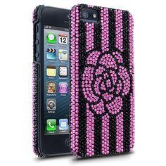 DeBari Crystaria Flower Stripe Case for Apple iPhone 4/4S