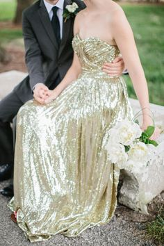 Gold wedding gowns that'll turn heads: http://www.stylemepretty.com/collection/2895/