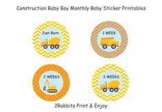 Construction Themed  Boy Baby Shower DIY #Monthly #Onsie #Sticker Printables by 2RabbitsPrintEnjoy