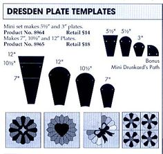Perfect Patchwork Template Dresden Plate Set. I must have!!  Lol