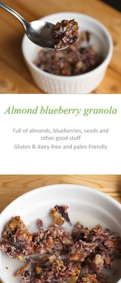Almond blueberry granola made using almond butter and blueberry jam - gives this gluten and dairy-free granola a natural sweetness #granola