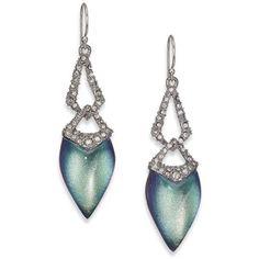 Alexis Bittar Deco Lucite & Crystal Link Drop Earrings/Blue