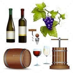 Wine Icons Collection Flat