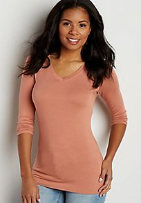 v-neck tee with long sleeves
