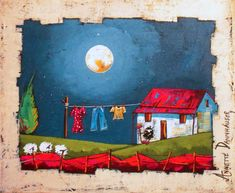 Annette Dannhauser - Washing Day x Stone Painting, House Painting, African Colors, South African Artists, House Drawing, Naive Art, Simple Art, Drawing For Kids, Home Art