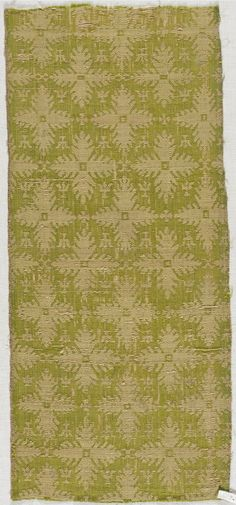 Textile Fragment, Silk Twill with Stylized Leaf in Quatrefoil Shape Italy, 14th century Textiles; fragments Compound silk twill 7 x 16 1/4 in. (17.78 x 41.28 cm) Mr. and Mrs. Allan C. Balch Fund (M.55.12.24)
