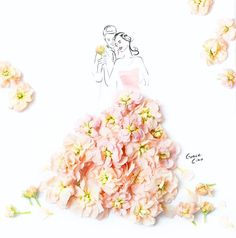 Specially illustrated for a bride-to-be! What a thrill to congratulate someone with my own creation. Tag a friend who's tying the knot this year! . . #weddinginvites #fashionillustration #byGraceCiao #beautifulbride #couplegoals #flowerdress