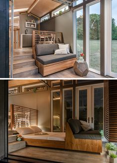 The small living room in this tiny home has a built-in couch that can be pulled out to reveal a full-size bed. The small living room in this tiny home has a built-in couch that can be pulled out to reveal a full-size bed. Modern Tiny House, Tiny House Living, Tiny House Plans, Small Living Rooms, Living Room Designs, Modern Living, Bed In Living Room, Cottage Living, Modern Family