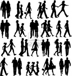 Large collection of silhouettes of people walking Silhouette people Walking silhouette Architecture people