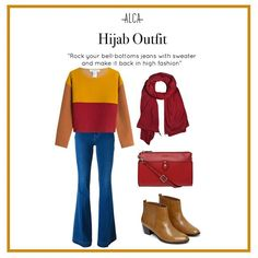 Rainy season is finally here! Wear your fave sweater to keep you looking chic in gloomy weather. Hijab Chic, Rainy Season, Hijab Outfit, Mix N Match, You Look, Hijab Fashion, Bell Bottoms, Bell Bottom Jeans, Ootd