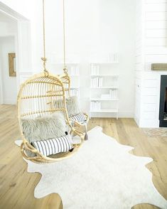 Check out the Hanging Rattan Chair and the rest of our unique Chairs at Serena and Lily. World Market Dining Chairs, Cheap Dining Room Chairs, Vintage Dining Chairs, Cool Chairs, Upholstered Dining Chairs, Ikea Chairs, Pink Chairs, Bedroom Chair, Bedroom Decor