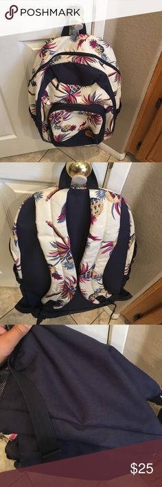 Roxy Backpack Tropical style. Palm trees and pineapples. Navy blue trim and interior. No rips! 3 zipped compartments. Two netted side pockets. Standard sized backpack. Super cute!! Roxy Bags Backpacks