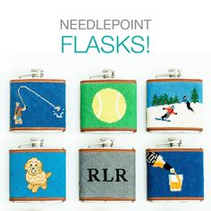 #Getinthemood for a different kind of New Year's Eve. About our needlepoint flasks: The flask cover is needlepointed by hand and made to order. You can personalize any of our designs. We use 100% genuine leather for the trim and a 5 oz stainless steel flask. Each flask includes a free monogram.🧴 🥎 🏈 Our Flasks are 4 inches wide x 4.5 inches high x 1.25 inches deep. Get In The Mood, Free Monogram, Different Kinds, Flasks, Needlepoint, Eve, Kids Rugs, Stainless Steel, Make It Yourself