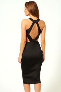 boo hoo Kate Cut Out Sides Backless Midi Bodycon Dress Black Evening Dresses, Sexy Dresses, Beautiful Dresses, Midi Dresses, Fashion Dresses, Lil Black Dress, New Dress, Dress Up, Black Midi Dress