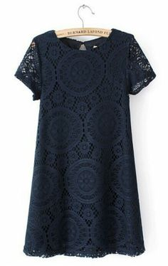 Navy Lace Embroidery Short Sleeve Cotton Blend Dress