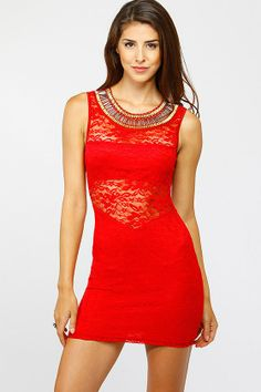 Detailed Neckline Floral Lace Dress - Cicihot.com